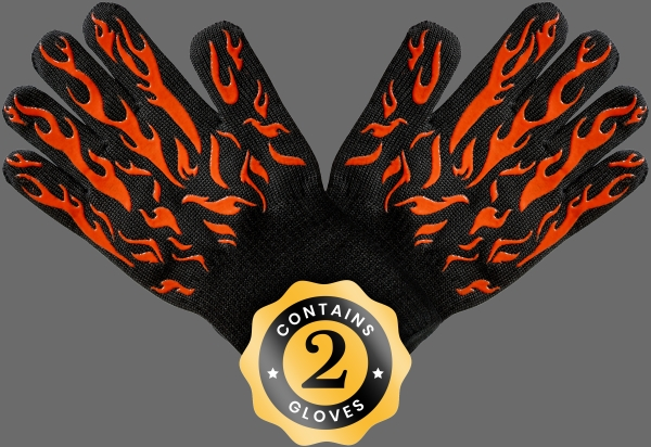 Two black gloves with flames in silicone