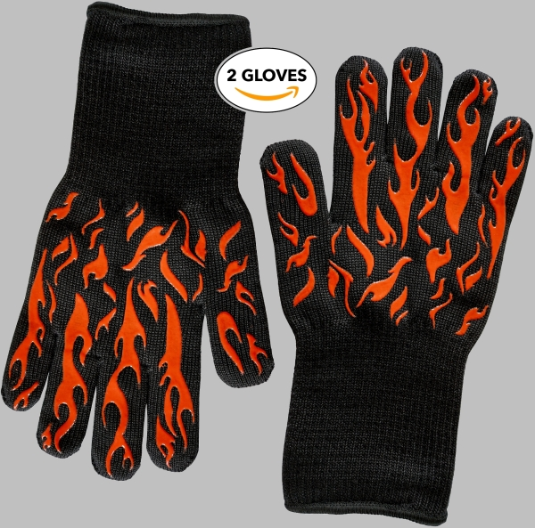 Two black bbq gloves with orange silicone flames